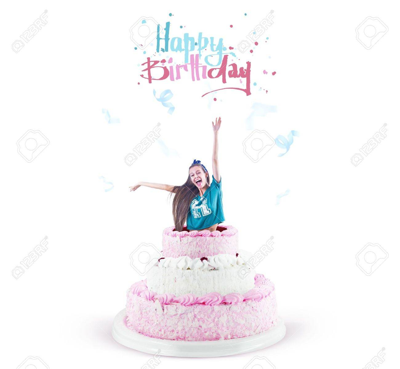 Magnificent Young Pretty Girl Jump Out Of A Large Birthday Cake Happy Birthday Funny Birthday Cards Online Amentibdeldamsfinfo