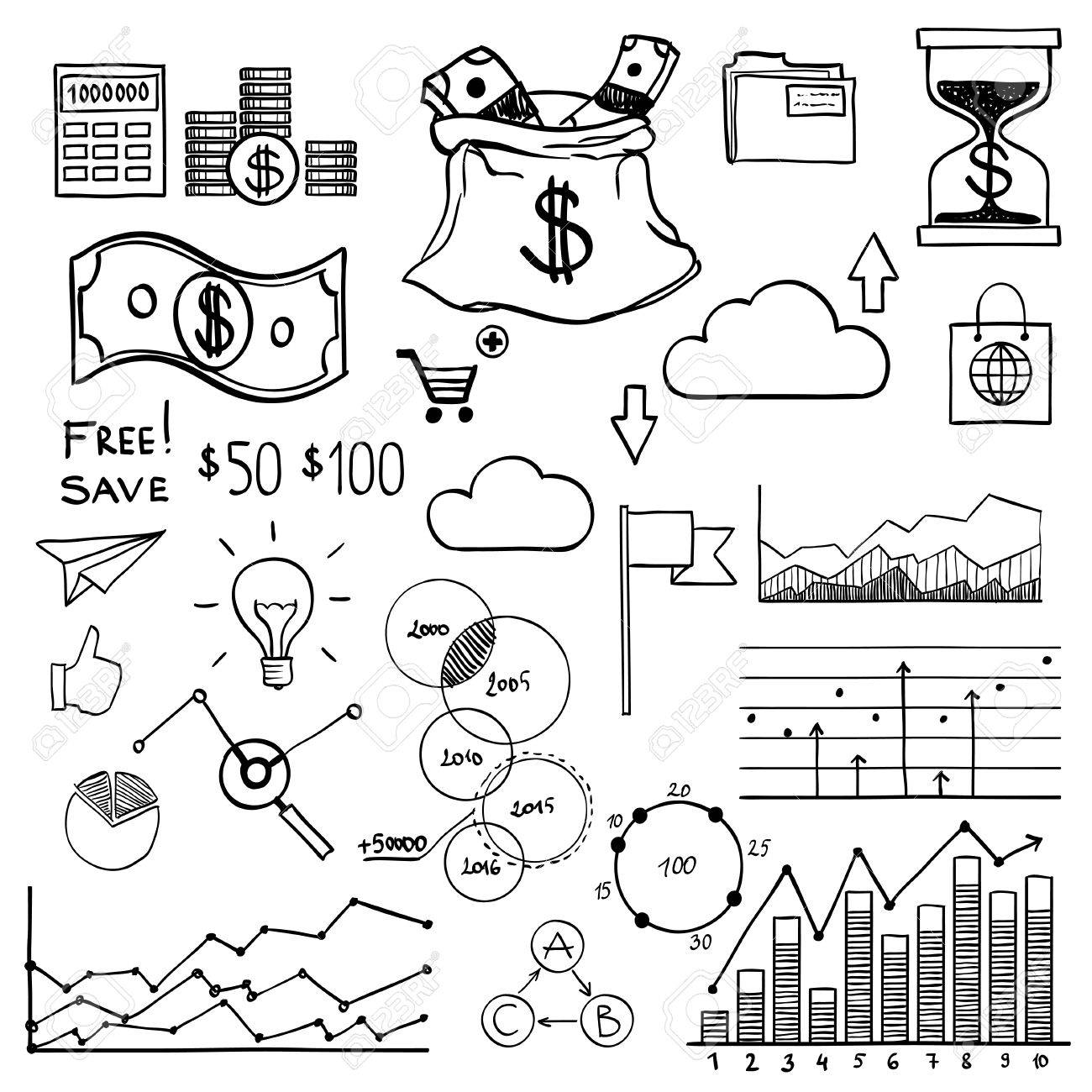 hand draw doodle elements money and coin icon chart and graph Venipuncture Order of Draw Chart hand draw doodle elements money and coin icon chart and graph concept bank business