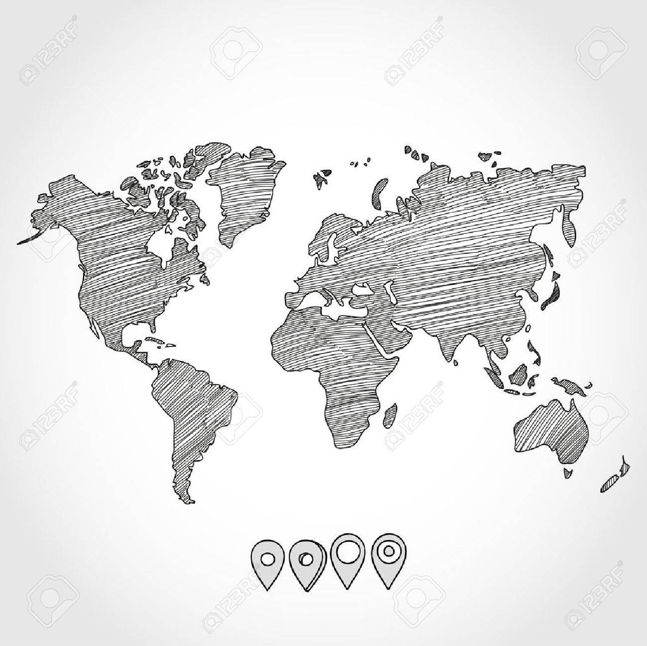 hand drawn doodle sketch political world map and geo tag pin pointers marker vector illustration