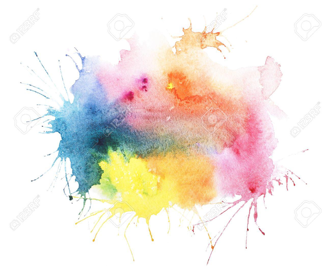 Image Aquarelle abstract watercolor aquarelle hand drawn blot colorful yellow