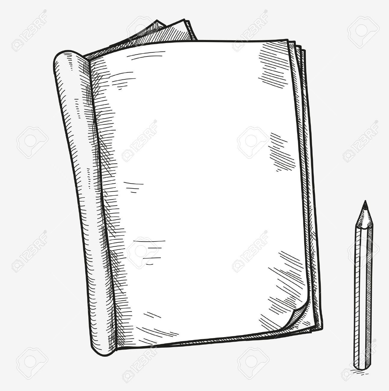 Hand Gezeichnet Doodle Skizze Offenen Notebook, Klare Seite, Vorlage ...