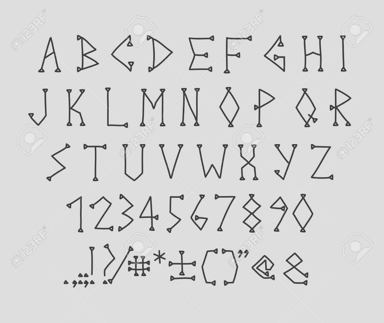Type Letters Numbers And Punctuation Marks Hand Drawin Alphabet