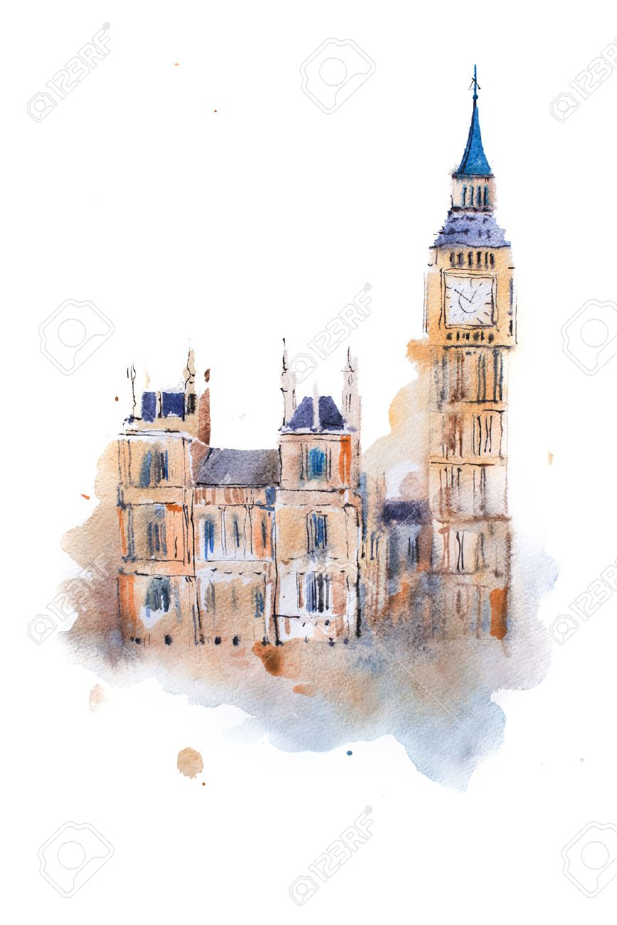 watercolor drawing westminster palace in london aquarelle painting