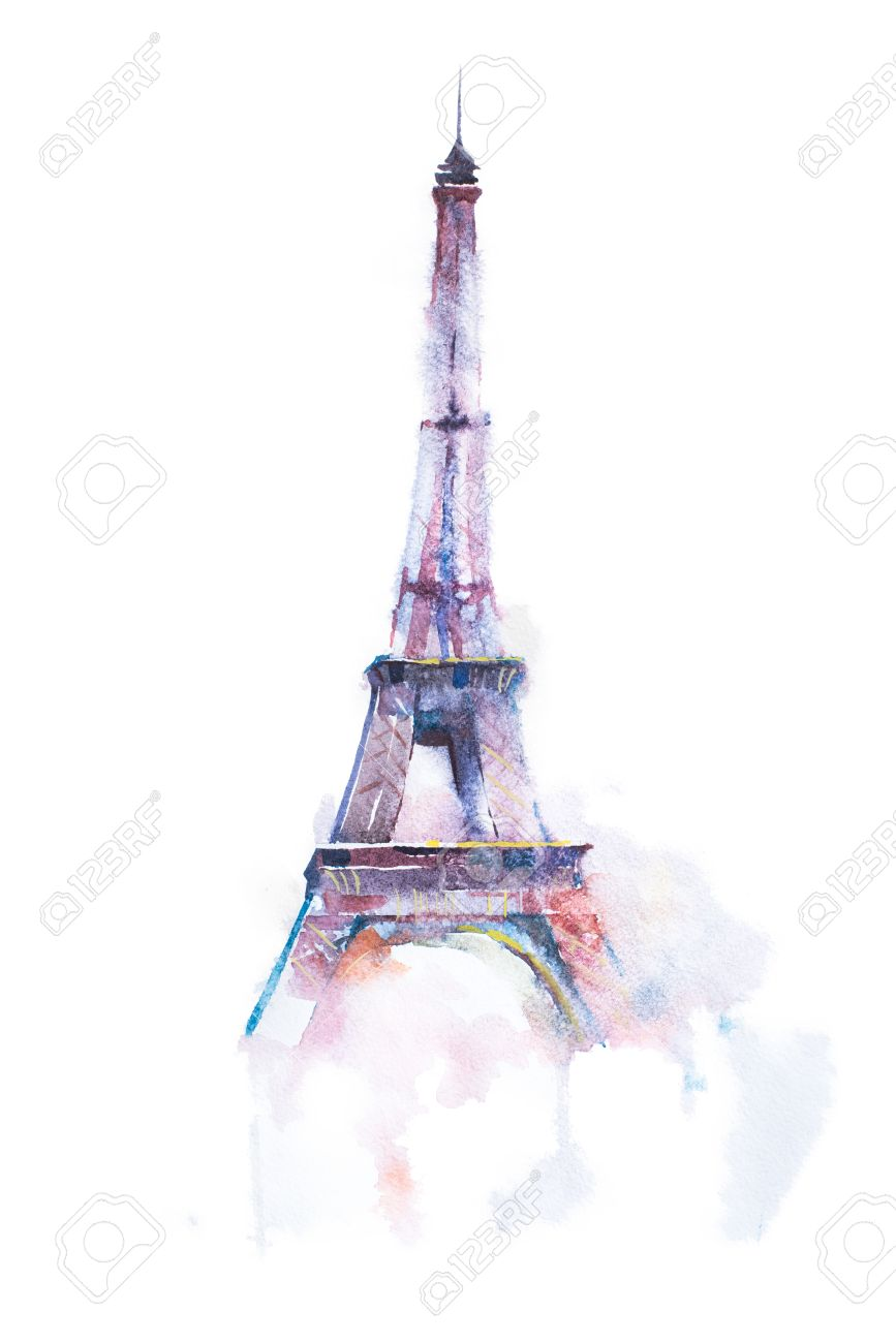 Watercolor drawing of eiffel tower in paris on white background stock photo watercolor drawing of eiffel tower in paris on white background altavistaventures Choice Image