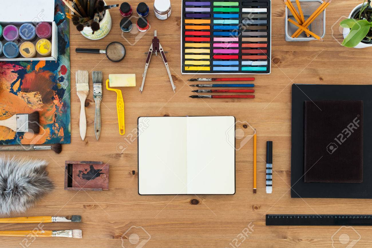 Painter Workplace Top View Wooden Table Of An Artist With Art Stock Photo Picture And Royalty Free Image Image 55682709