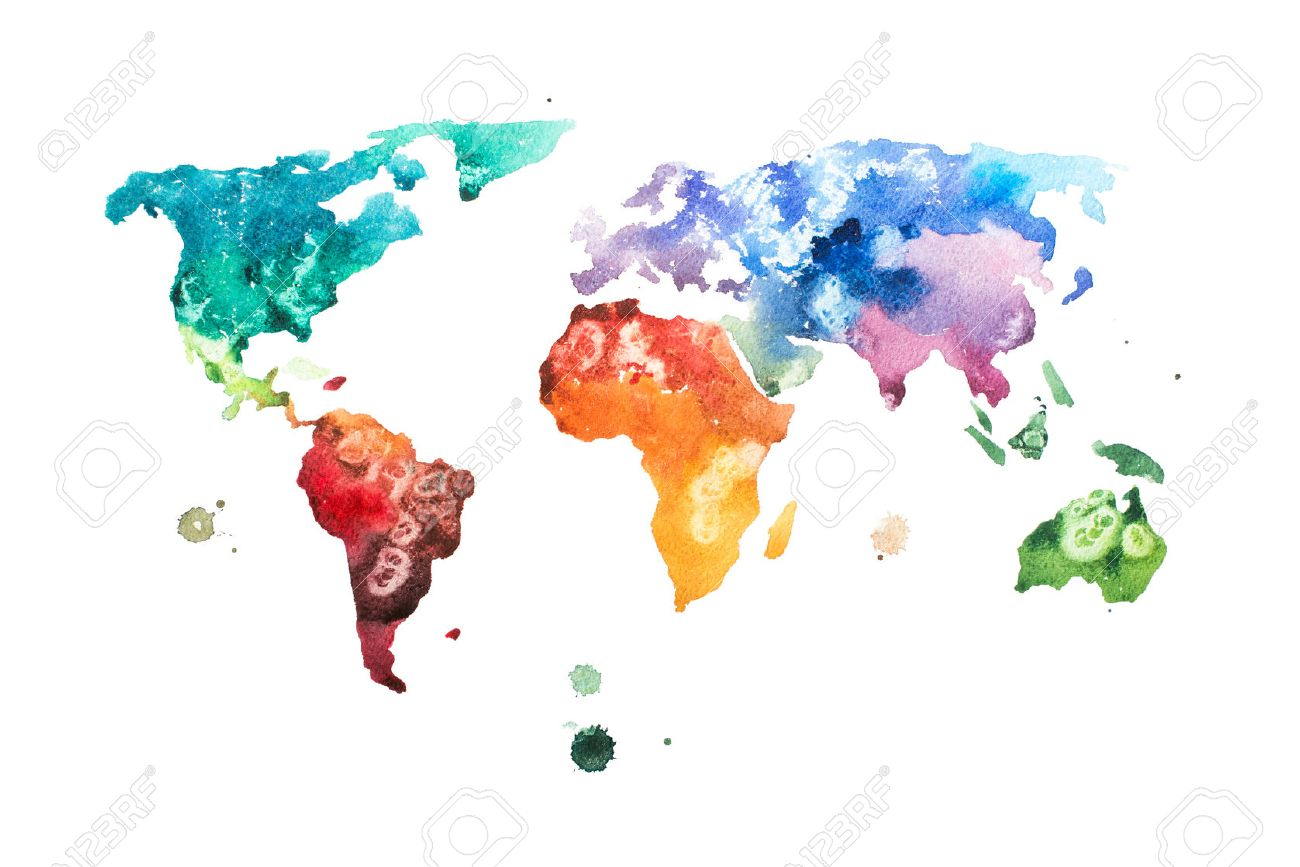 Hand Drawn Map Of The World.Hand Drawn Watercolor World Map Aquarelle Illustration Stock Photo