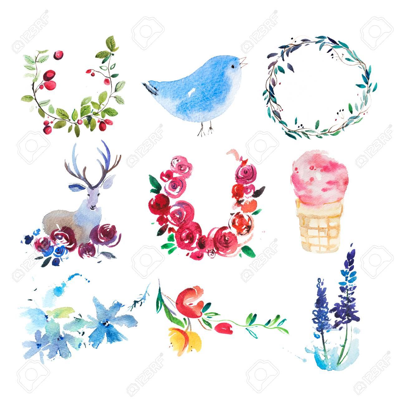 Dessin Aquarelle Fleurs Couronne Et Feuilles Peinture à L