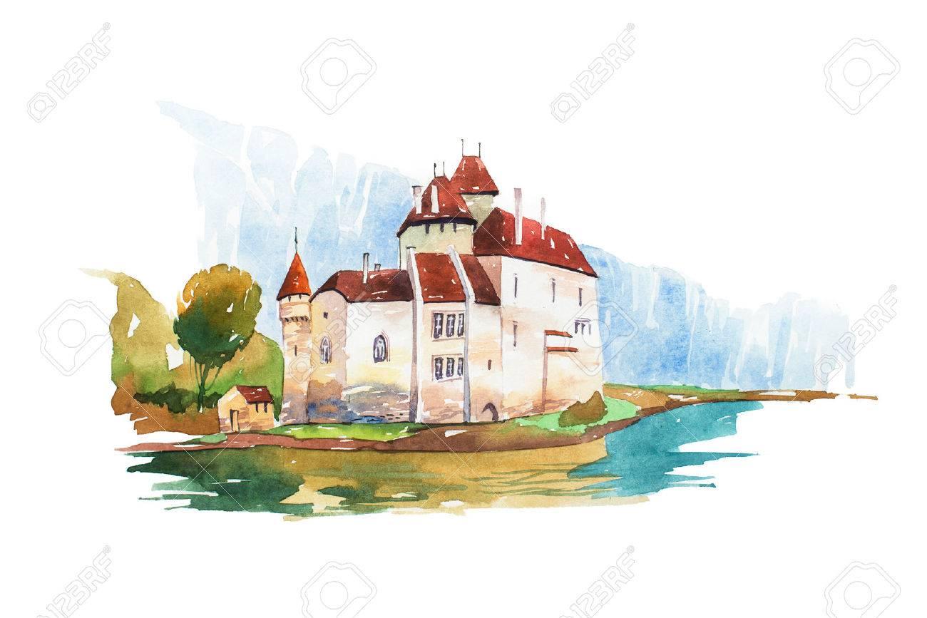 Chillon Castle at Geneva lake famous landmarks travel and tourism waercolor illustration - 75327612