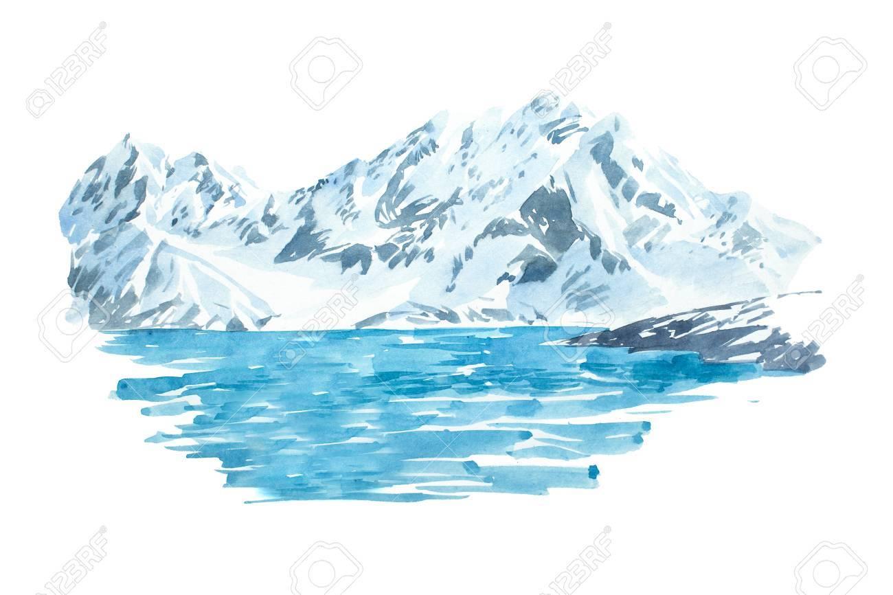 Natural beautiful winter landscape mountain and lake illustration. - 78082691