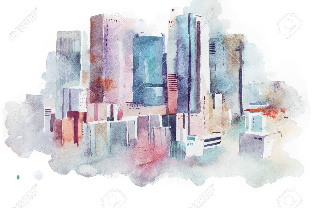 watercolor drawing cityscape big city downtown, aquarelle painting - 80044378