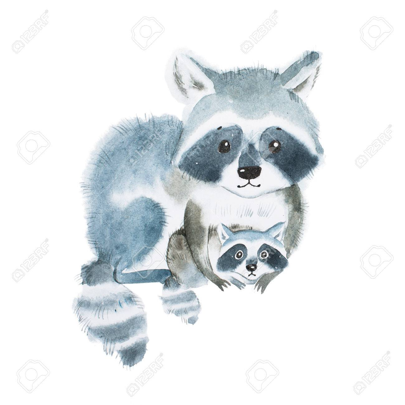 Cute fuzzy raccoon family, mother warming her little baby. Artwork created with watercolor technique. - 80694305