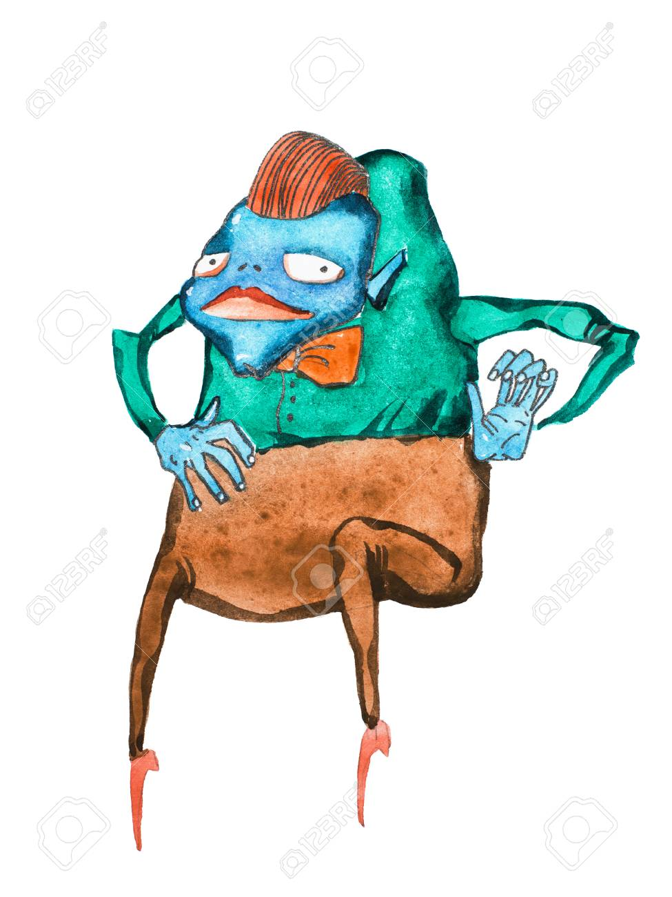 Illustration Aquarelle De Monstre De Dessin Animé à Bosse Bleu Vêtu D Une Chemise D Un Noeud Papillon Et D Un Pantalon