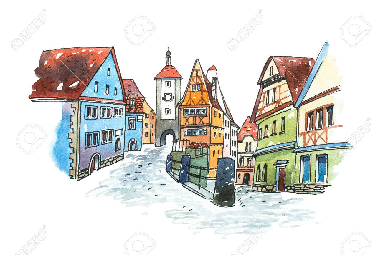 Hand drawn watercolor painting of old town in Germany. Romantic cityscape Bavarian Rothenburg ob der Tauber painted on white paper - 80620636