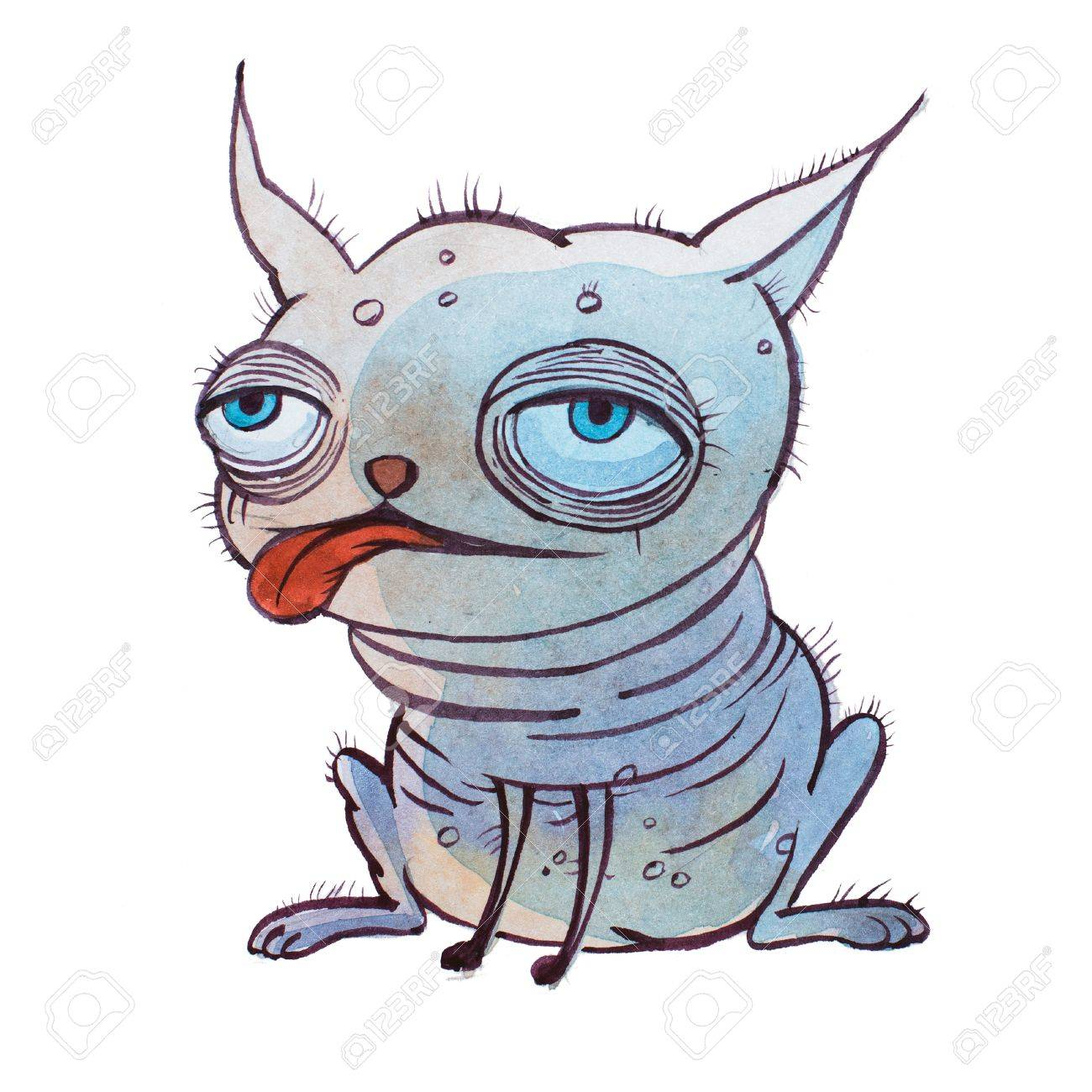 Small Ugly Bald Cartoon Dog With Big Puffy Eyes Set Quite Far Stock Photo Picture And Royalty Free Image Image 82237199