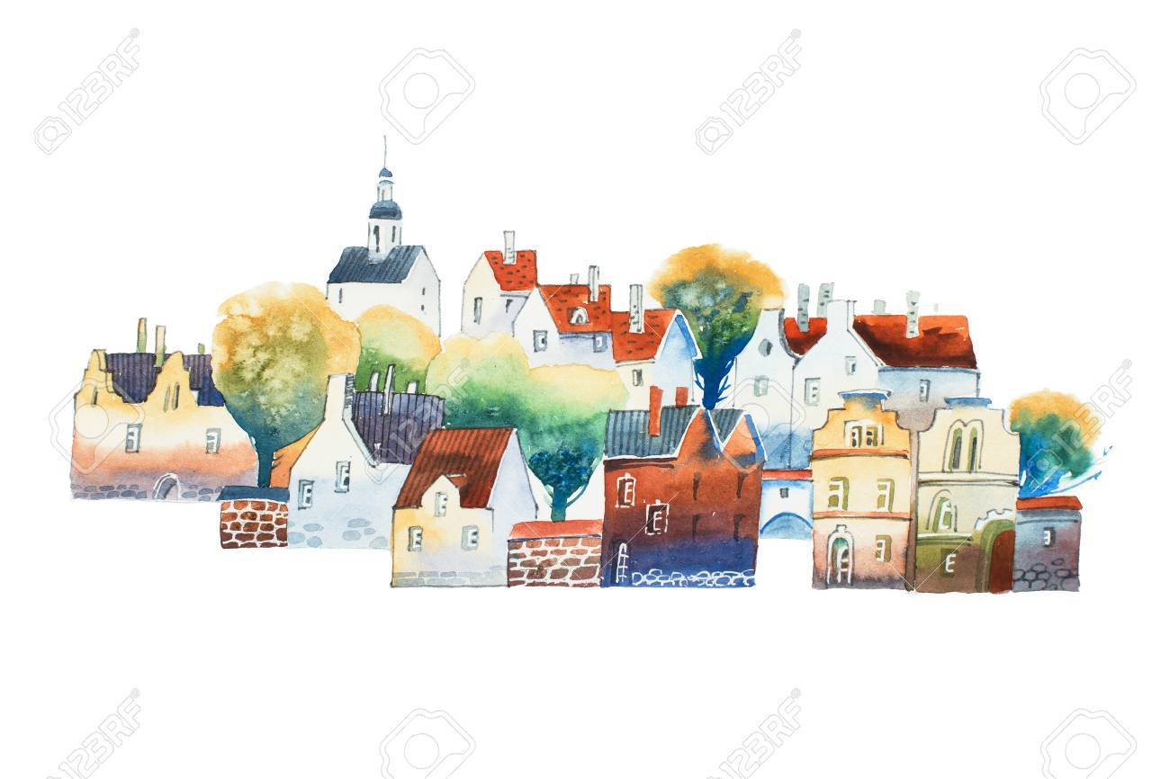 Aquarelle drawing in color of old European city center with traditional houses in summer - 86639473