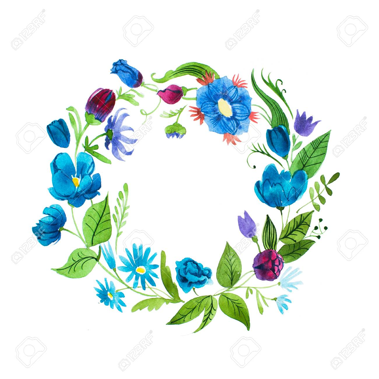 Watercolor floral wreath made of blue wild flowers isolated on stock photo watercolor floral wreath made of blue wild flowers isolated on white background izmirmasajfo