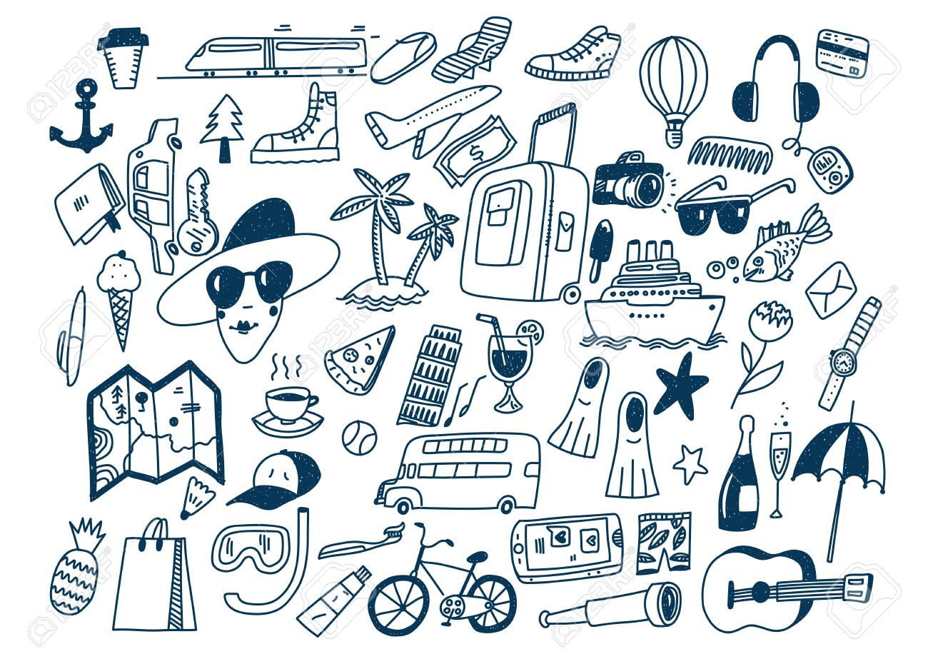 Hand draw doodle travel symbols Tourism and traveling Stock Vector -  100501527 9c03953d54
