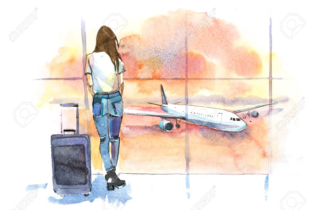 Travel Woman Traveler In Airport Looking At Aircraft Through