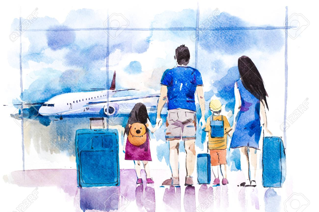 Young family travelling in international airport standing near window. - 102321594