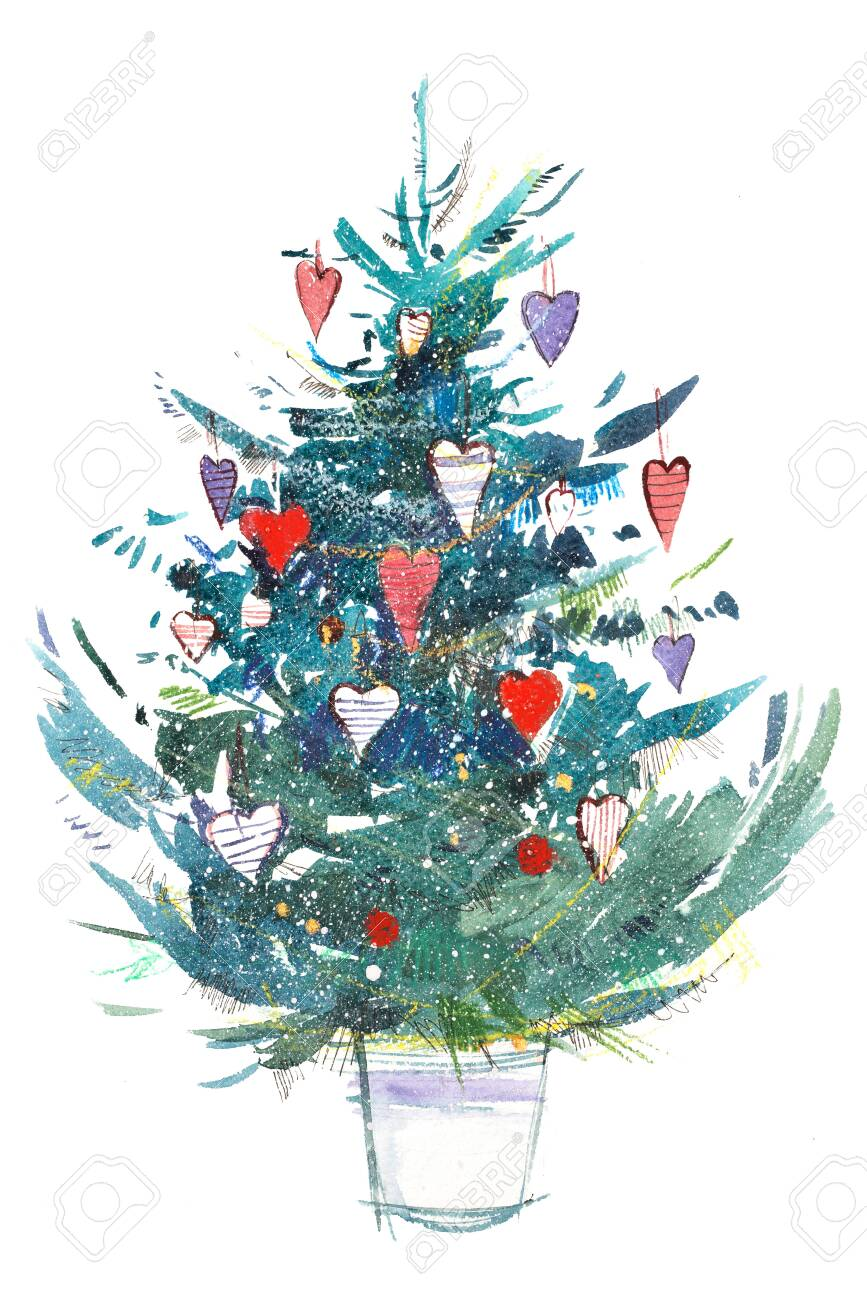 Christmas Celebration Images For Drawing.Christmas Tree New Year Xmas Celebration Watercolor Drawing
