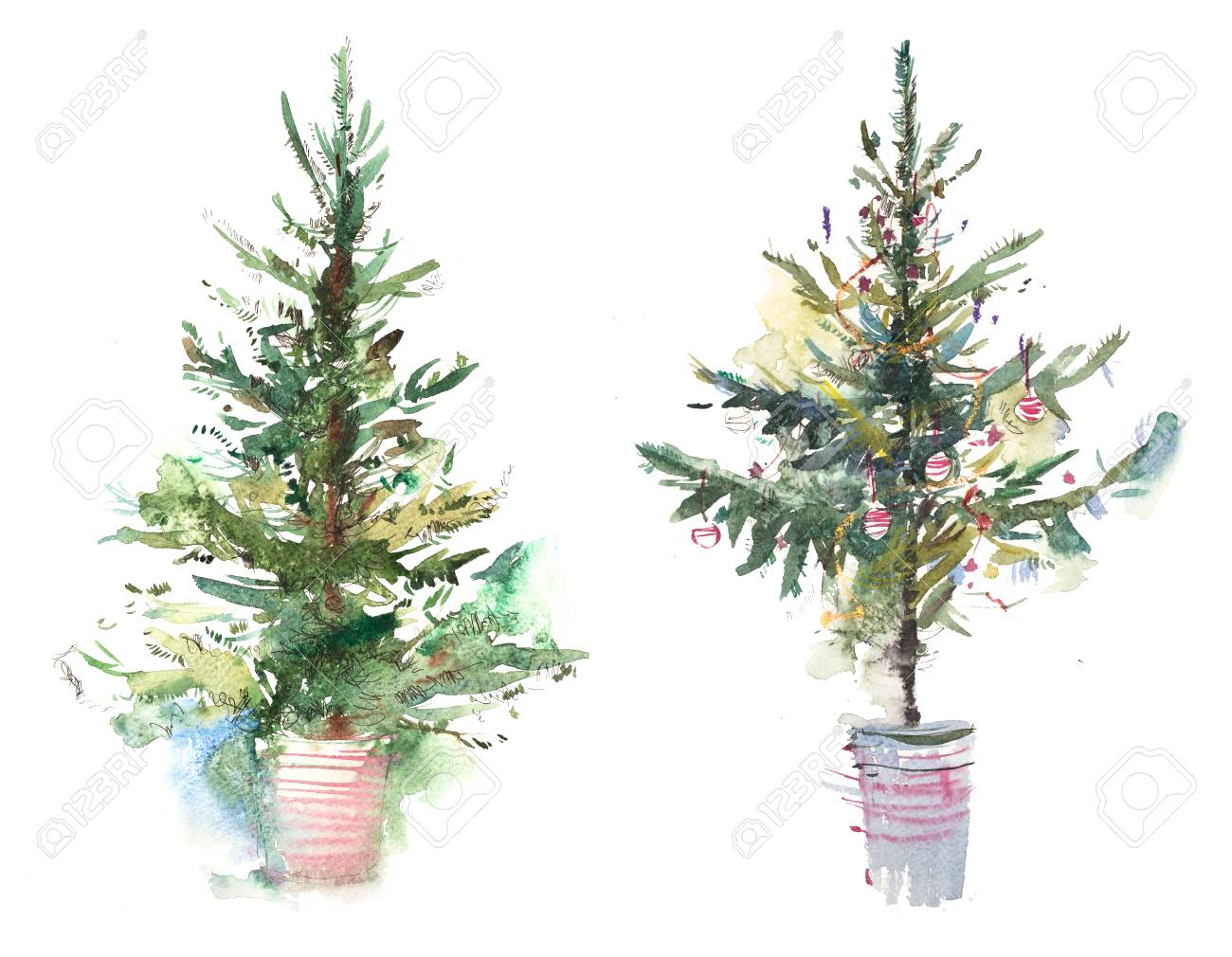 Decorated christmas tree New year Watercolor illustration Water color drawing - 115311509