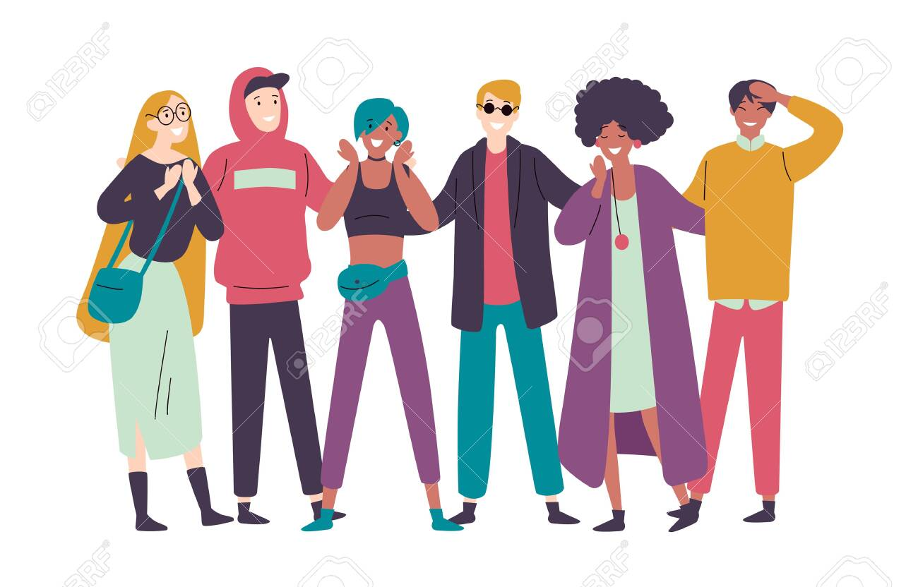 Group of diverse happy people muti-ethnic standing together - 123347563