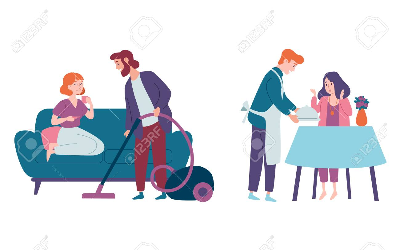 Men take care of women and do housework. Cleaning house, vacuuming floor, cooking. Family couples, festive, celebration. - 122945290