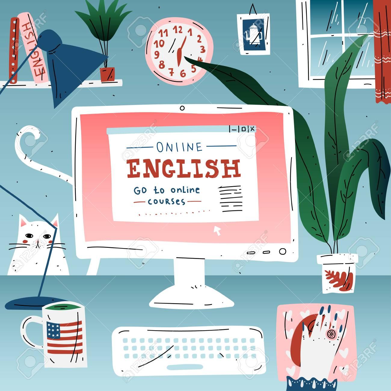 Learn english online education language. Workplace, desktop computer - 122636225