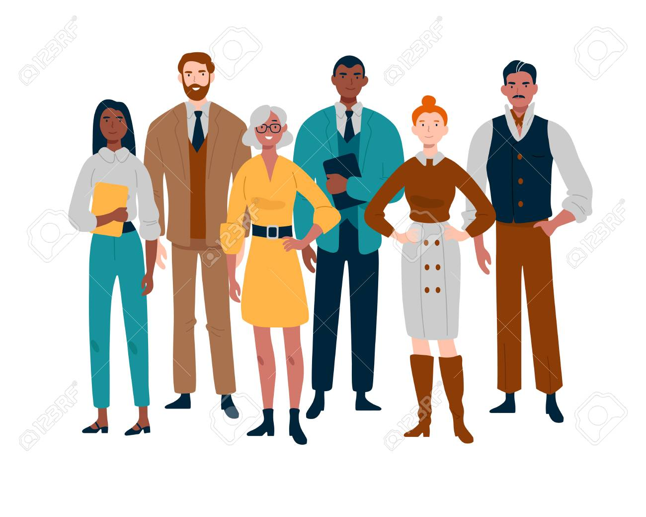 Portrait of business team standing together. Multiracial business people. - 130836676
