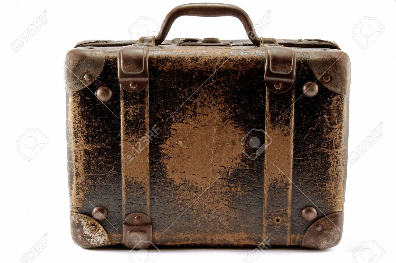 Old Brown Suitcase For Travel, White Background. Stock Photo ...