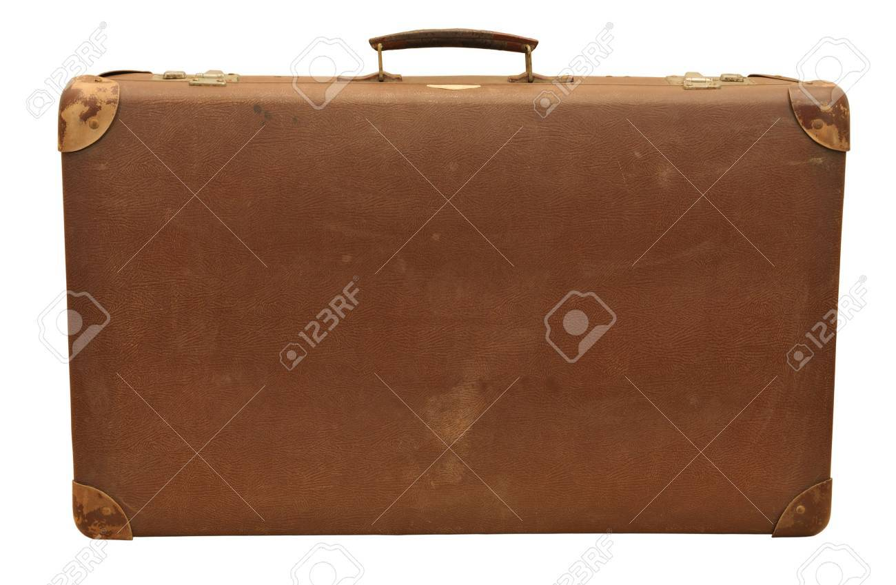 Old wooden suitcase, isolated on white . Stock Photo - 3616352