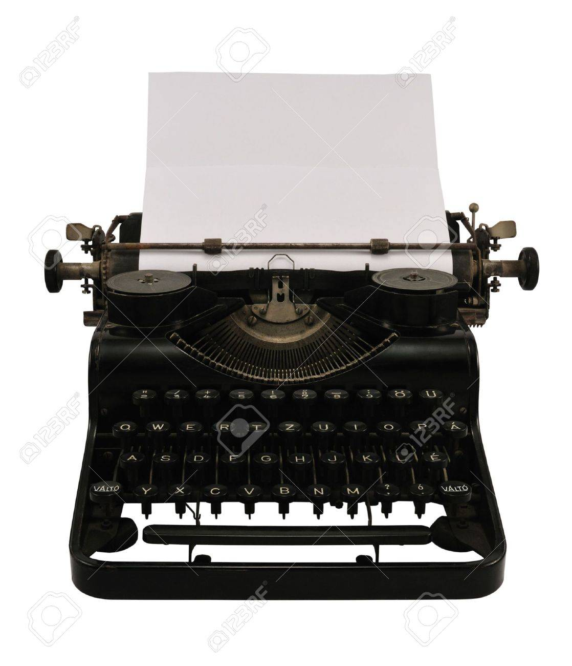 Old black typewriter with blank paper, isolated on white. Stock Photo - 3869803