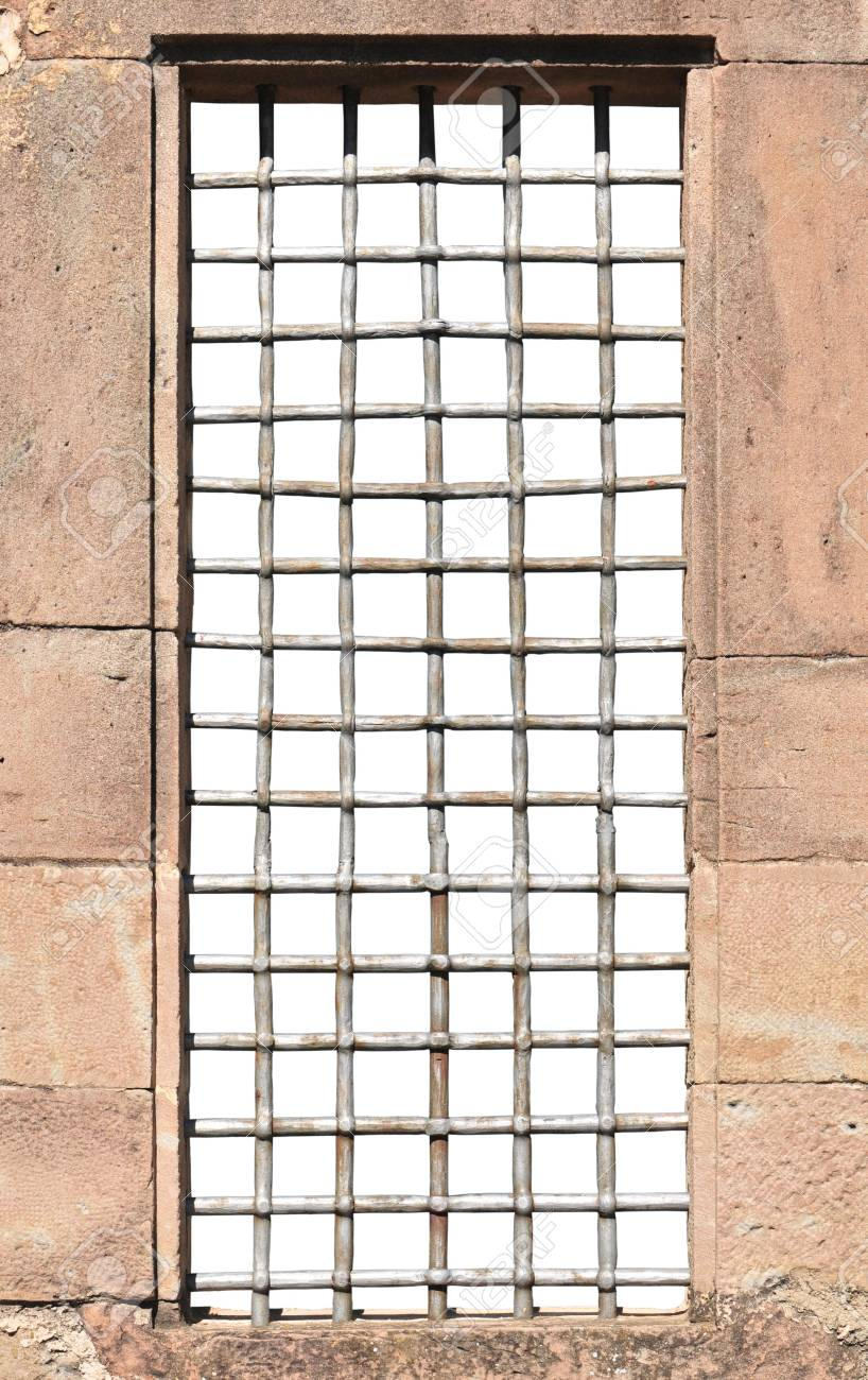 Window and massive bars isolated (inside) on white. Stock Photo - 7467996