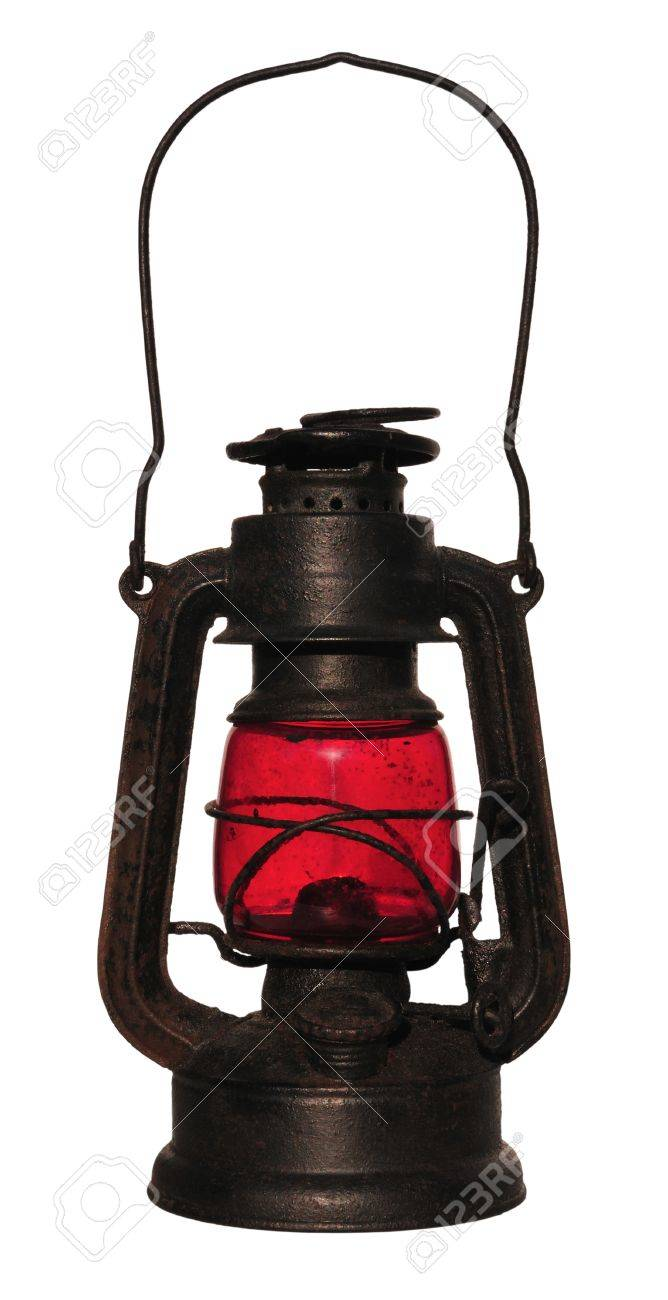 Old black lantern with red glass,  isolated on white. Stock Photo - 9894495