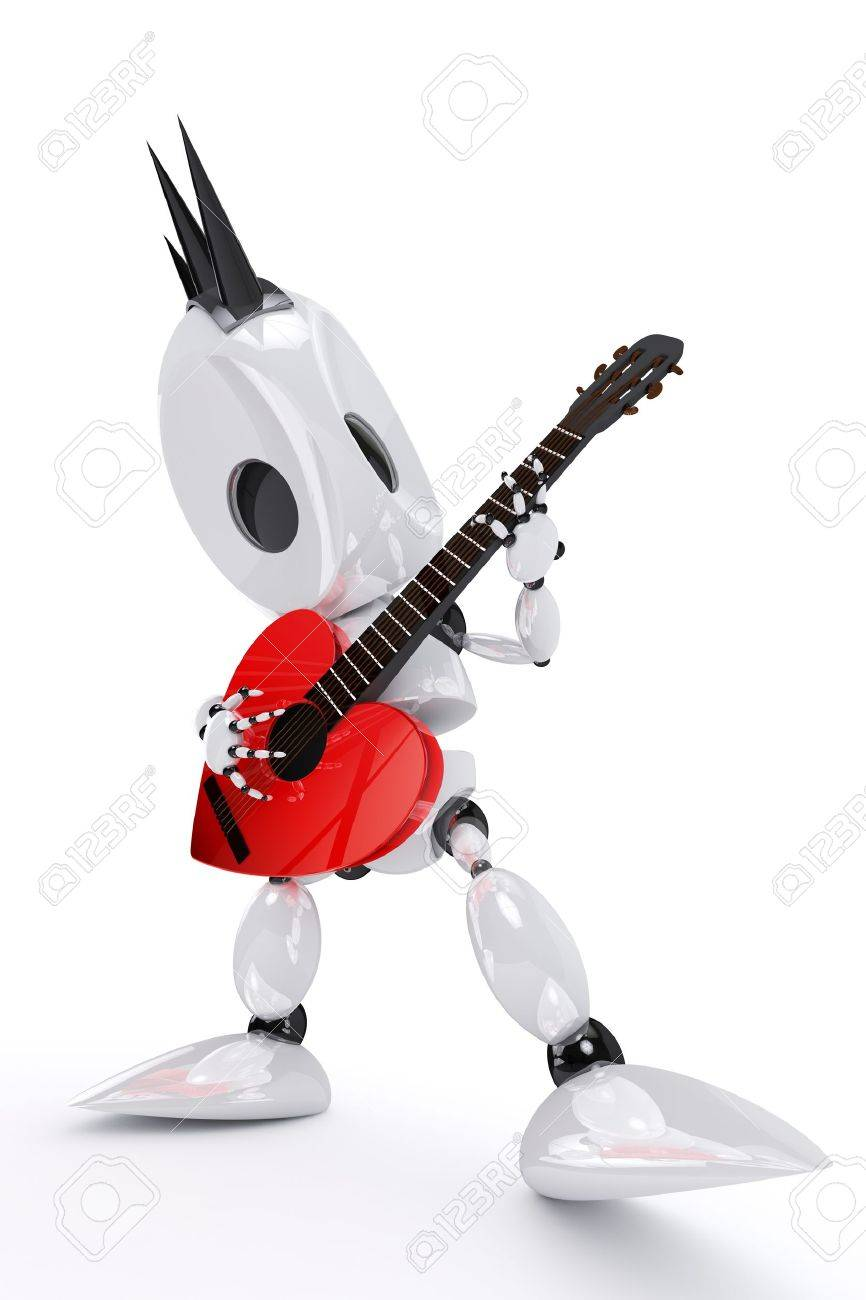 robot rock star playing a heart shaped guitar Stock Photo - 8778721