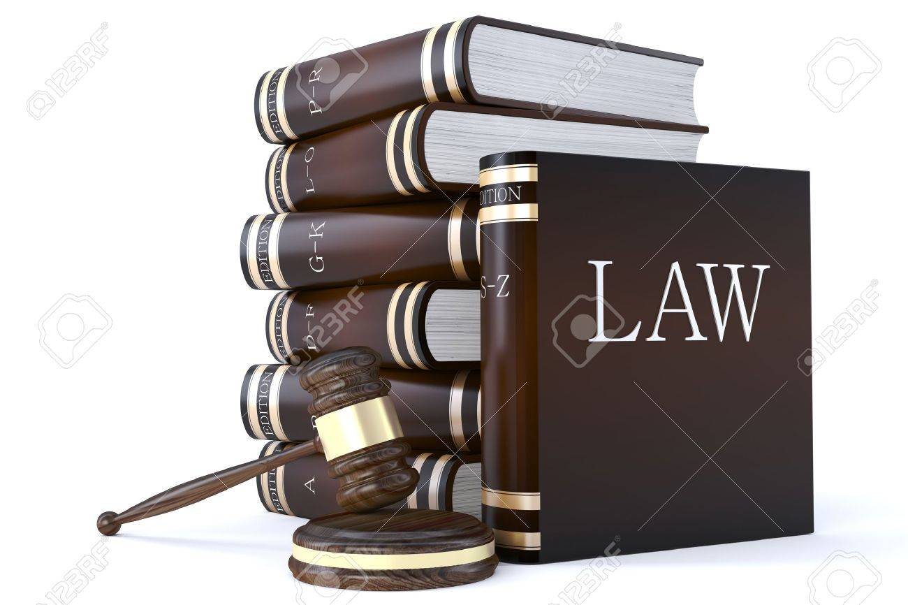 3d render of a collection of law books and gavel Stock Photo - 9805649