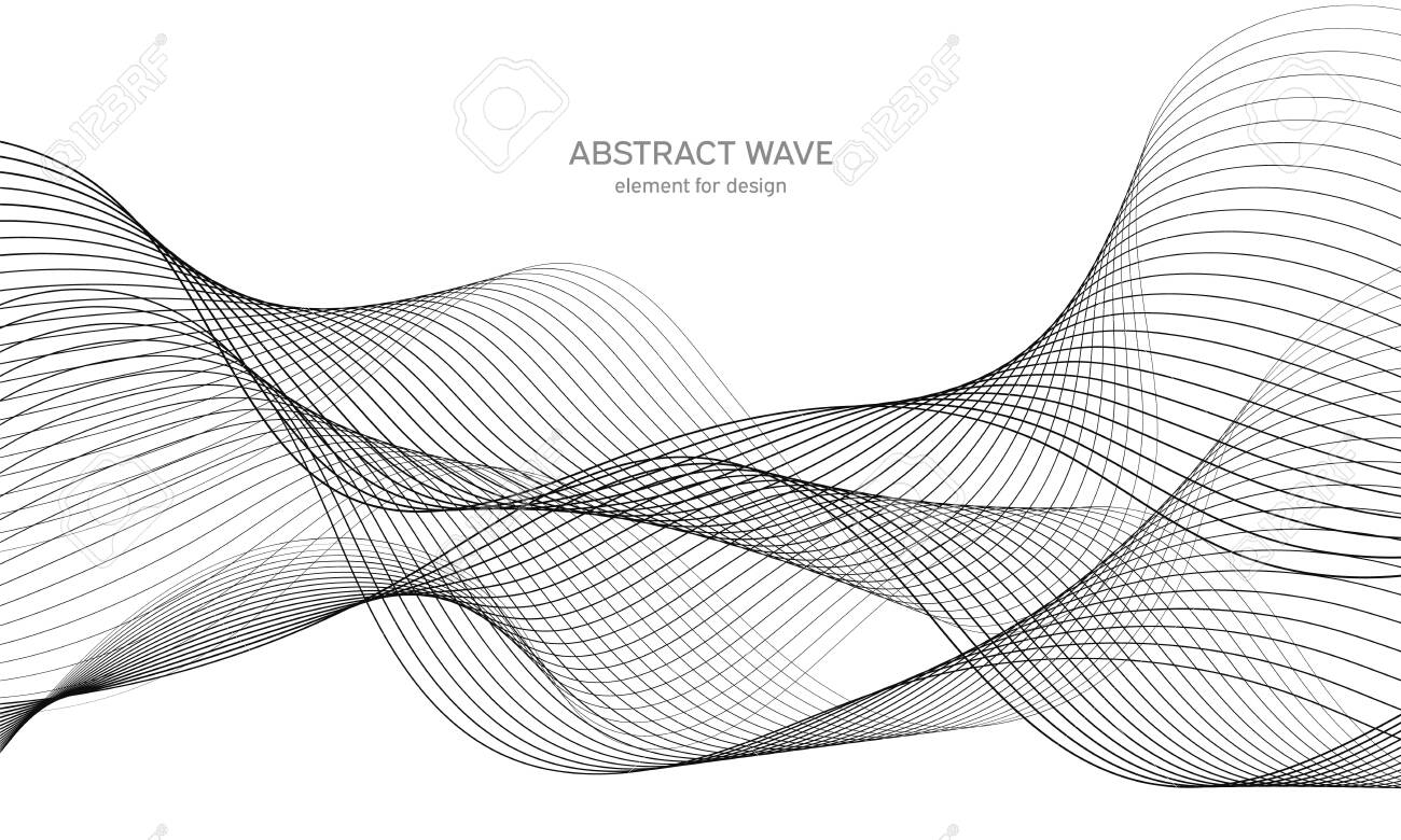 Abstract wave element for design. Digital frequency track equalizer. Stylized line art background. Vector illustration. Wave with lines created using blend tool. Curved wavy line, smooth stripe - 132165560