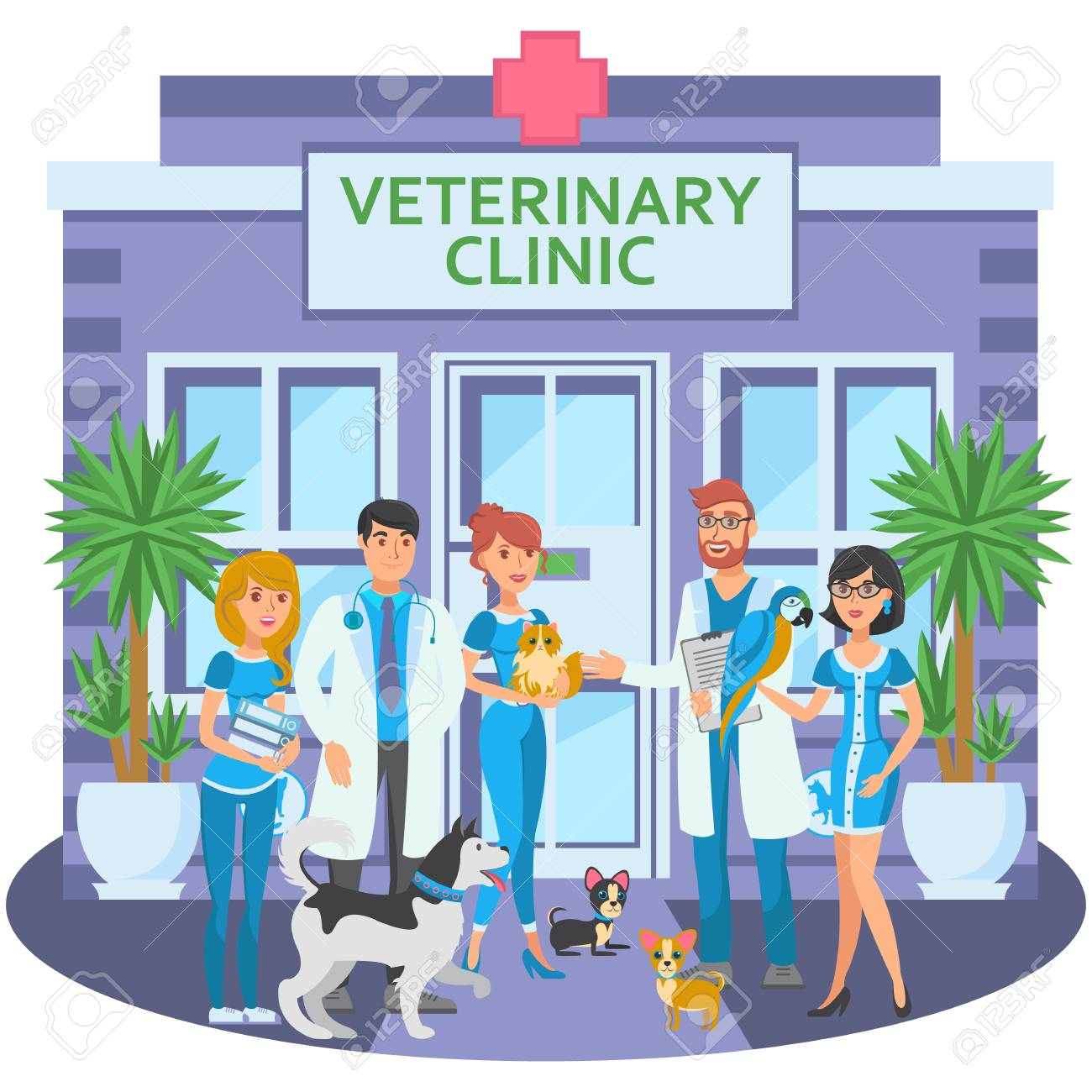 Cartoon Group Of Joyful Veterinarians With Pets Are At Entrance