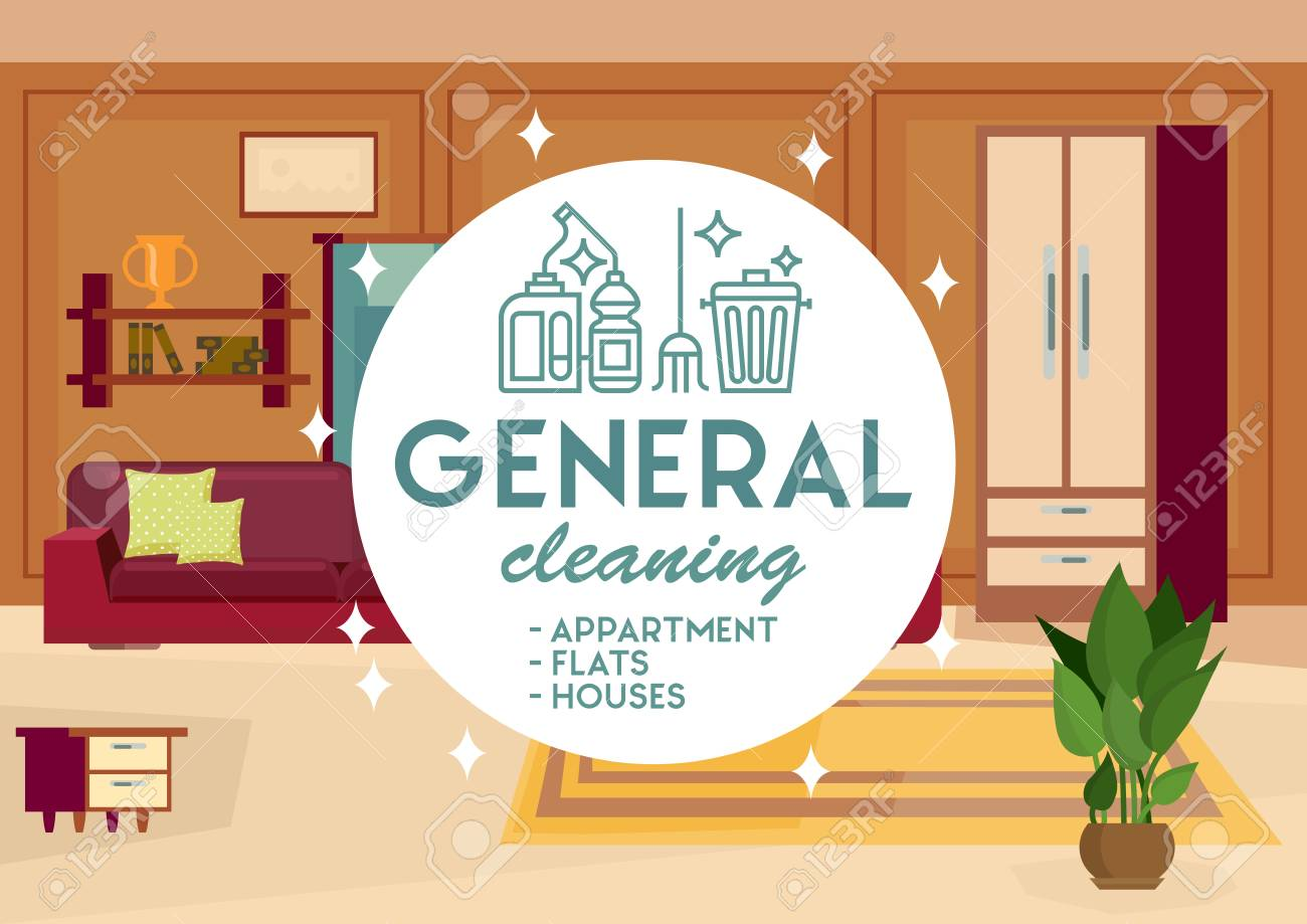 General Cleaning Apartment Concept. Dry Cleaning. Cleaning Business...