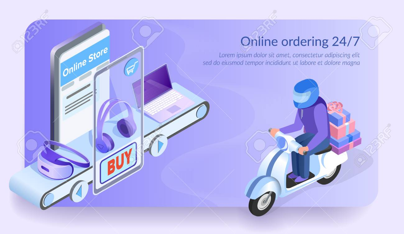 Online Ordering 24 for 7  Courier Delivers Order by Motorbike