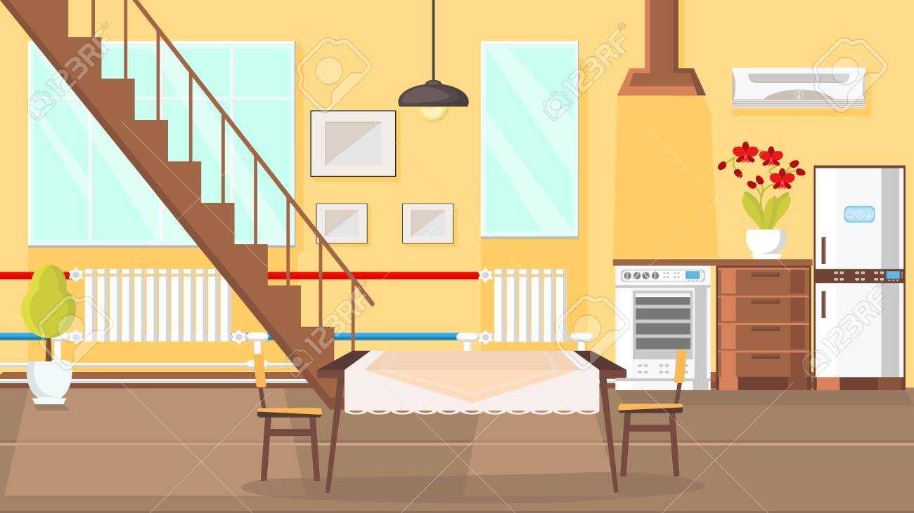room interior flat design vector illustration modern kitchen royalty free cliparts vectors and stock illustration image 117579209 room interior flat design vector illustration modern kitchen