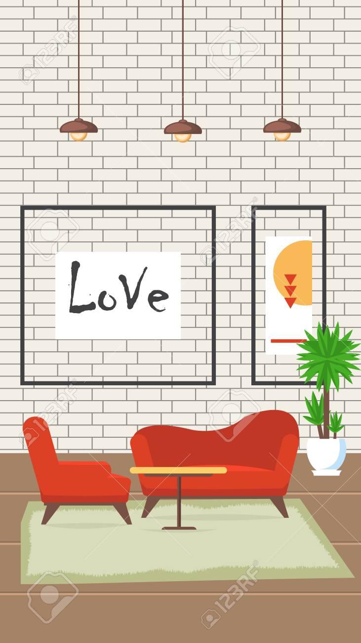 Living Room Design Flat Vector Illustration Modern Comfortable