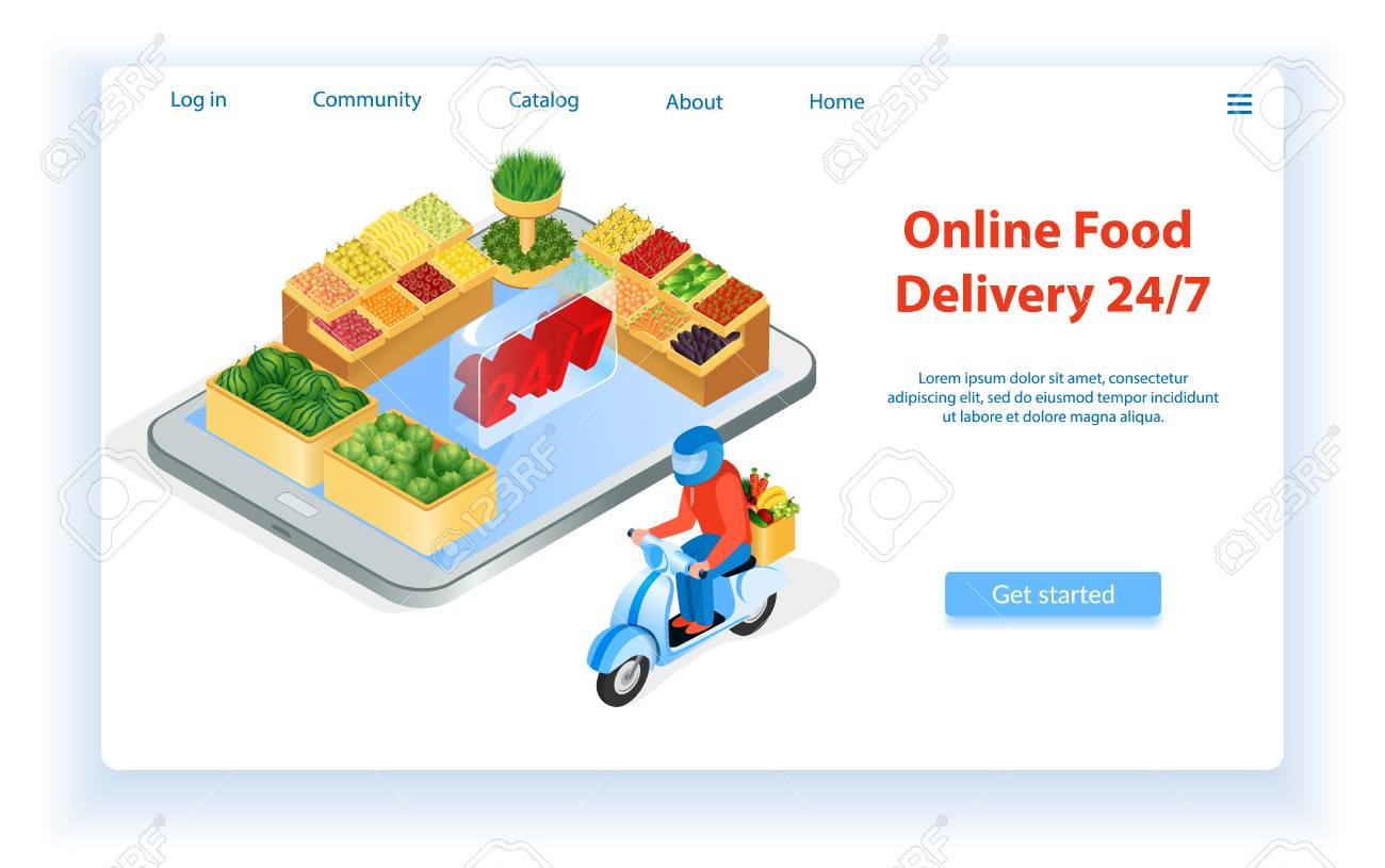 Courier Delivers Food By Motorcycle Internet Food Store Landing Royalty Free Cliparts Vectors And Stock Illustration Image 117579589