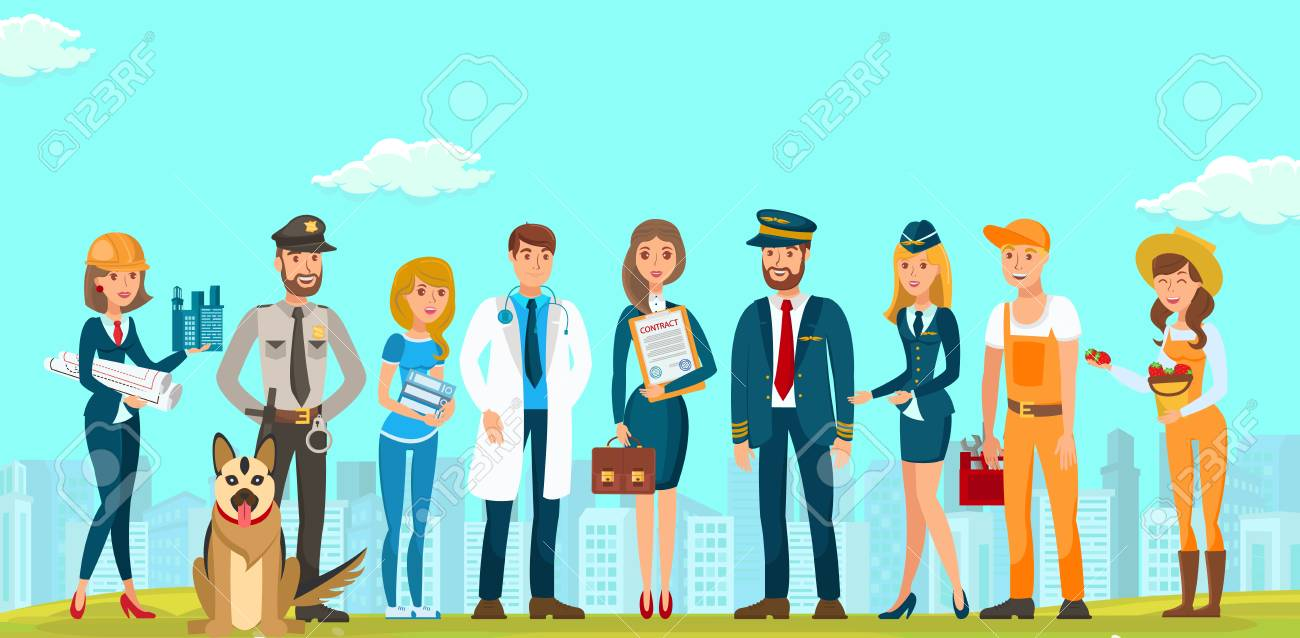 Vector Flat People Men and Women Different Specialties. Builders Designers Guard with Dog Young Lawyer Doctor Woman in Blue Dress with Contract Briefcase. Documents Pilot Flight Attendant Plumber . - 124938738