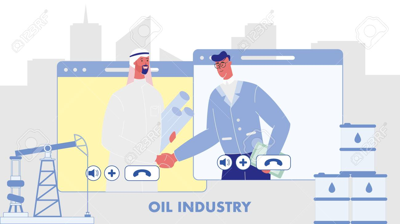 Oil Industry Flat Vector Web Banner with Text  Businessmen Making