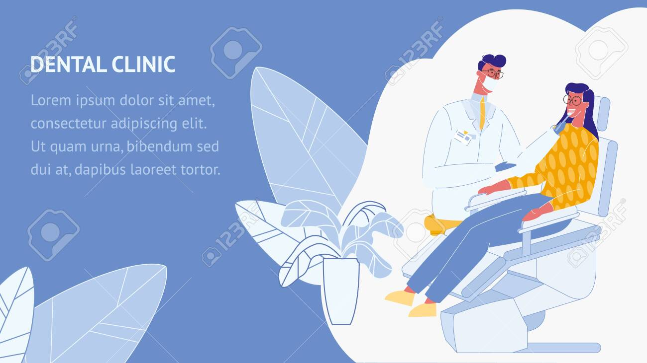 Dental Clinic Flat Vector Web Banner Template Stomatology Poster Royalty Free Cliparts Vectors And Stock Illustration Image 121208933