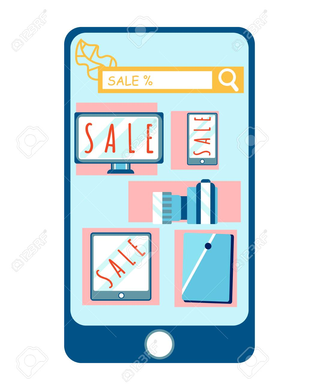 Electronics Internet Store App Vector Illustration. Ordering Gadget Online. Beneficial ECommerce. Big Clearance Sale. Devices Special Offer. Profitable Marketing. Computer, Tablet, TV Purchasing - 121209672