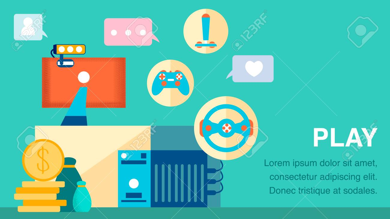 Computer Games Industry Flat Color Banner Template Blogging Royalty Free Cliparts Vectors And Stock Illustration Image 123425782