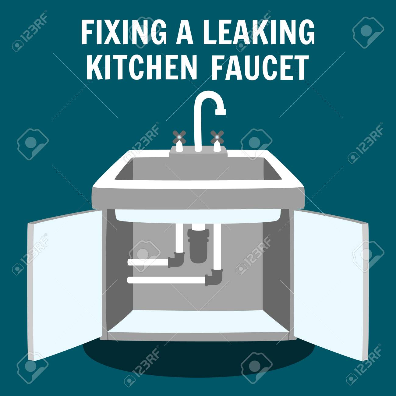 Fixing Leaking Kitchen Faucet Banner. Professional Plumbing Service..