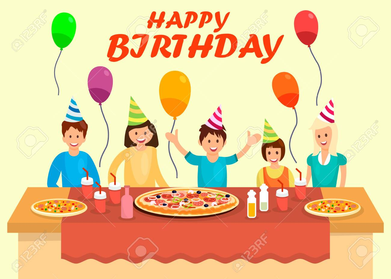 Pizza Party Banner With Text And Slice Of Pizza On Dark Background...  Royalty Free Cliparts, Vectors, And Stock Illustration. Image 98541631.